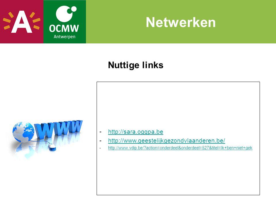 Nuttige links Netwerken -http://sara.oggpa.behttp://sara.oggpa.be -http://www.geestelijkgezondvlaanderen.be/http://www.geestelijkgezondvlaanderen.be/