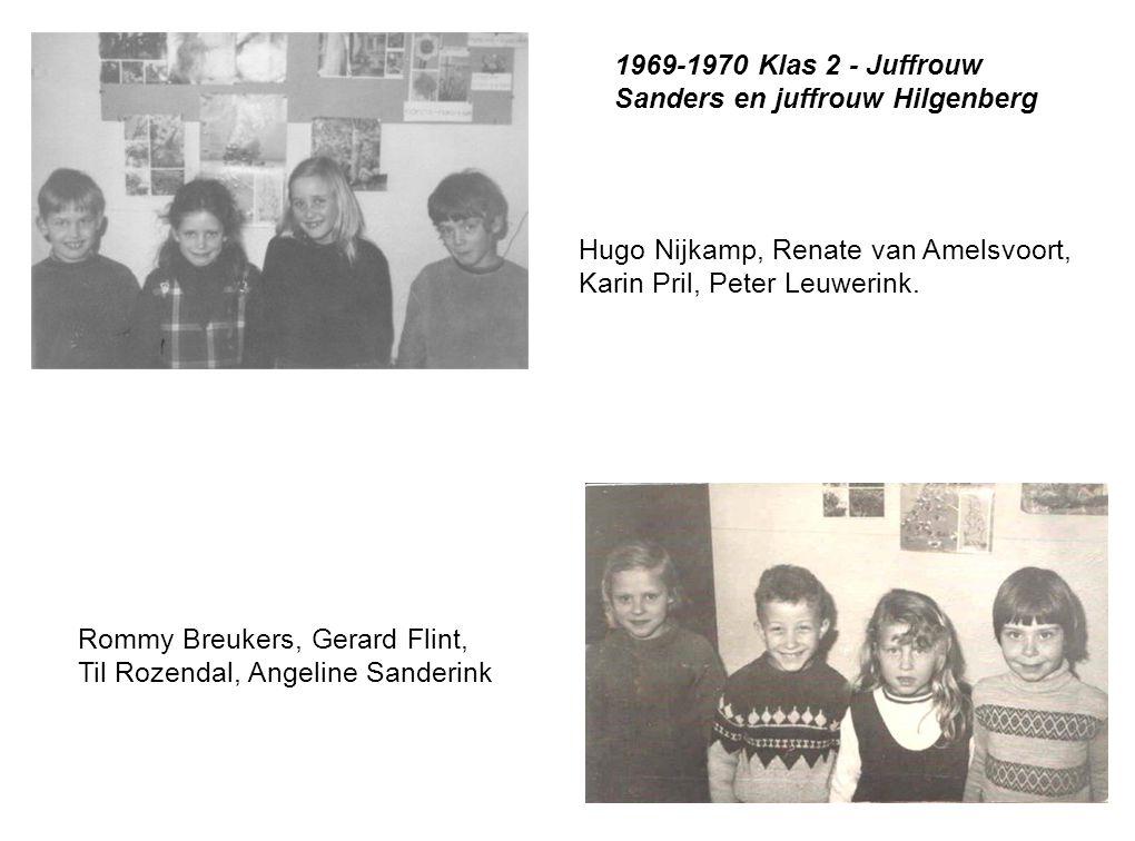 Rommy Breukers, Gerard Flint, Til Rozendal, Angeline Sanderink Hugo Nijkamp, Renate van Amelsvoort, Karin Pril, Peter Leuwerink. 1969-1970 Klas 2 - Ju
