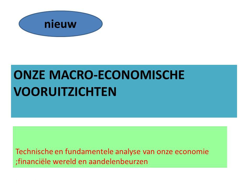 ONZE MACRO-ECONOMISCHE VOORUITZICHTEN Technische en fundamentele analyse van onze economie ;financiële wereld en aandelenbeurzen 12/12/20144 nieuw