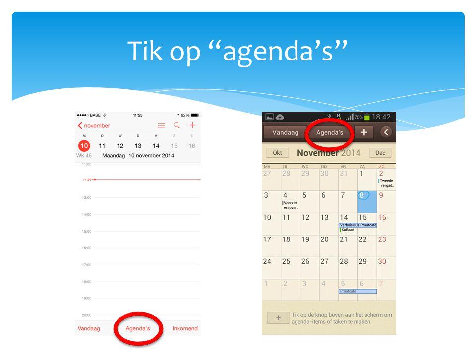 Tik op agenda's