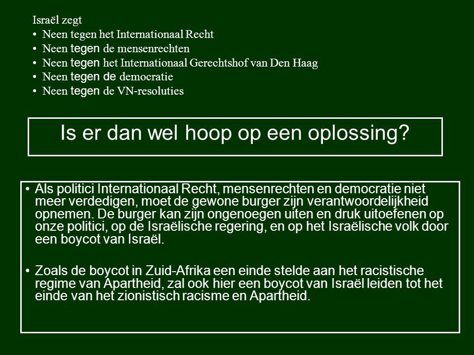 Is er dan wel hoop op een oplossing? Als politici Internationaal Recht, mensenrechten en democratie niet meer verdedigen, moet de gewone burger zijn v