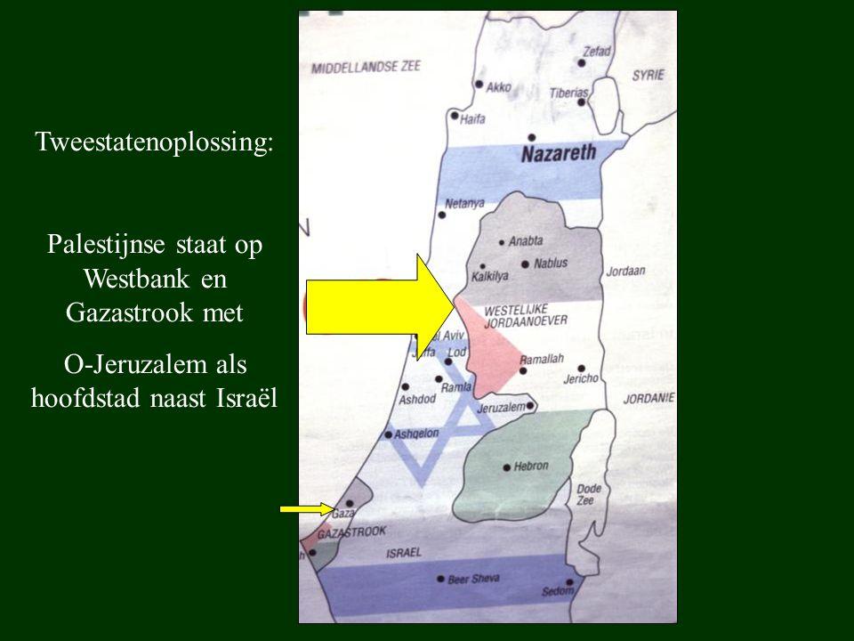 Tweestatenoplossing: Palestijnse staat op Westbank en Gazastrook met O-Jeruzalem als hoofdstad naast Israël