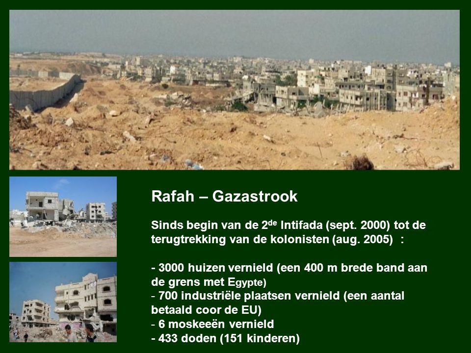 Rafah – Gazastrook Sinds begin van de 2 de Intifada (sept. 2000) tot de terugtrekking van de kolonisten (aug. 2005) : - 3000 huizen vernield (een 400