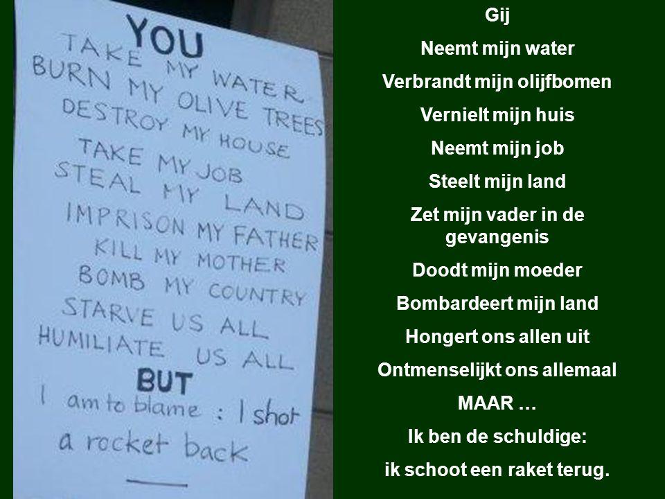 Gij Neemt mijn water Verbrandt mijn olijfbomen Vernielt mijn huis Neemt mijn job Steelt mijn land Zet mijn vader in de gevangenis Doodt mijn moeder Bombardeert mijn land Hongert ons allen uit Ontmenselijkt ons allemaal MAAR … Ik ben de schuldige: ik schoot een raket terug.