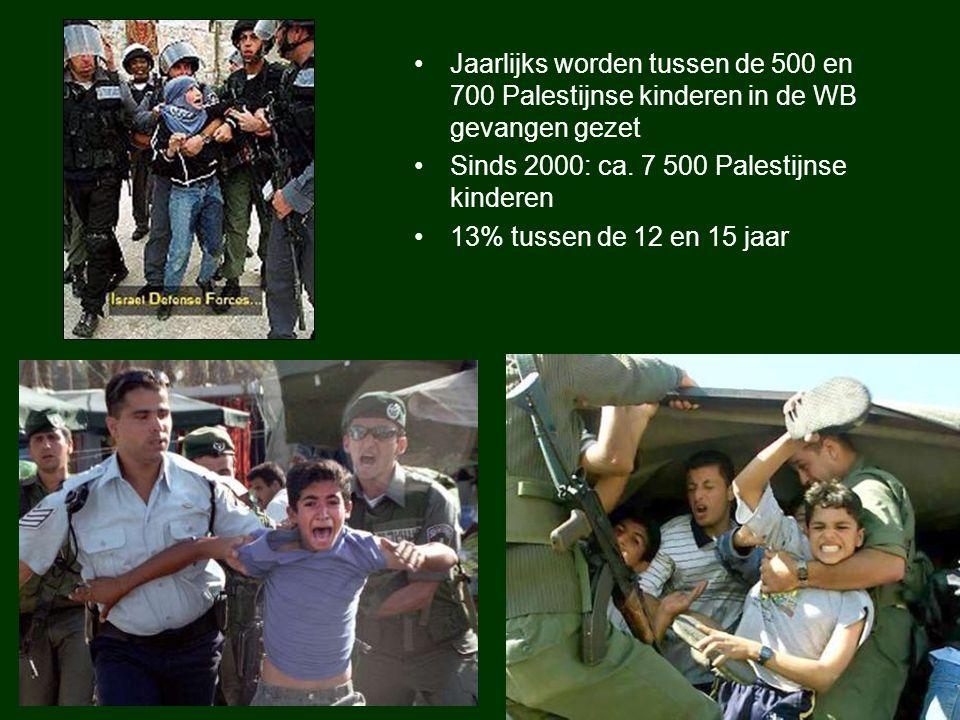 Jaarlijks worden tussen de 500 en 700 Palestijnse kinderen in de WB gevangen gezet Sinds 2000: ca. 7 500 Palestijnse kinderen 13% tussen de 12 en 15 j