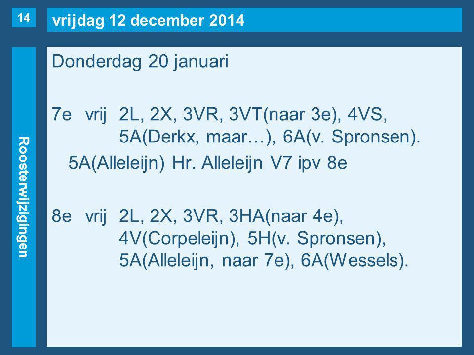 vrijdag 12 december 2014 Roosterwijzigingen Donderdag 20 januari 7evrij2L, 2X, 3VR, 3VT(naar 3e), 4VS, 5A(Derkx, maar…), 6A(v.