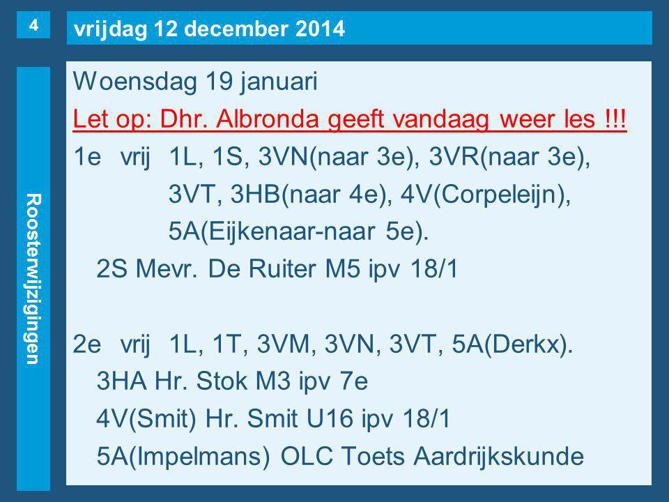 vrijdag 12 december 2014 Roosterwijzigingen Woensdag 19 januari Let op: Dhr.