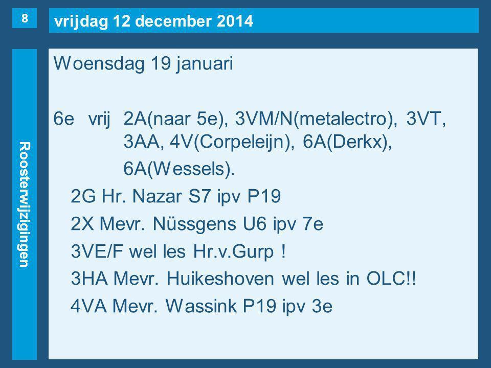 vrijdag 12 december 2014 Roosterwijzigingen Woensdag 19 januari 6evrij2A(naar 5e), 3VM/N(metalectro), 3VT, 3AA, 4V(Corpeleijn), 6A(Derkx), 6A(Wessels).