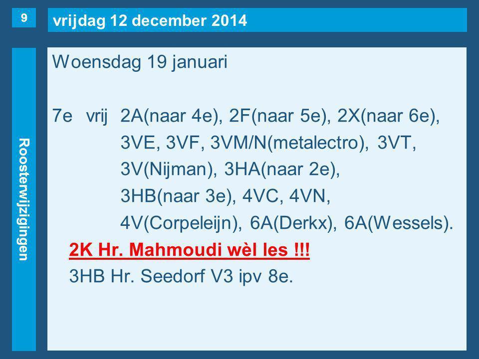 vrijdag 12 december 2014 Roosterwijzigingen Woensdag 19 januari 7evrij2A(naar 4e), 2F(naar 5e), 2X(naar 6e), 3VE, 3VF, 3VM/N(metalectro), 3VT, 3V(Nijman), 3HA(naar 2e), 3HB(naar 3e), 4VC, 4VN, 4V(Corpeleijn), 6A(Derkx), 6A(Wessels).