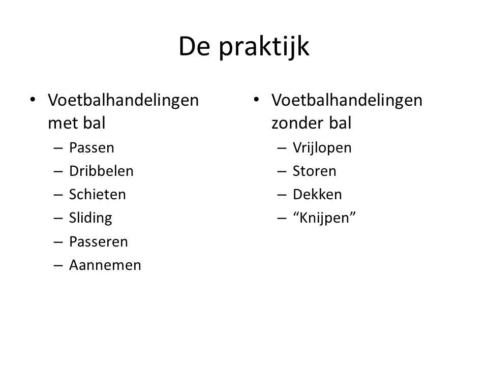De praktijk Voetbalhandelingen met bal – Passen – Dribbelen – Schieten – Sliding – Passeren – Aannemen Voetbalhandelingen zonder bal – Vrijlopen – Sto