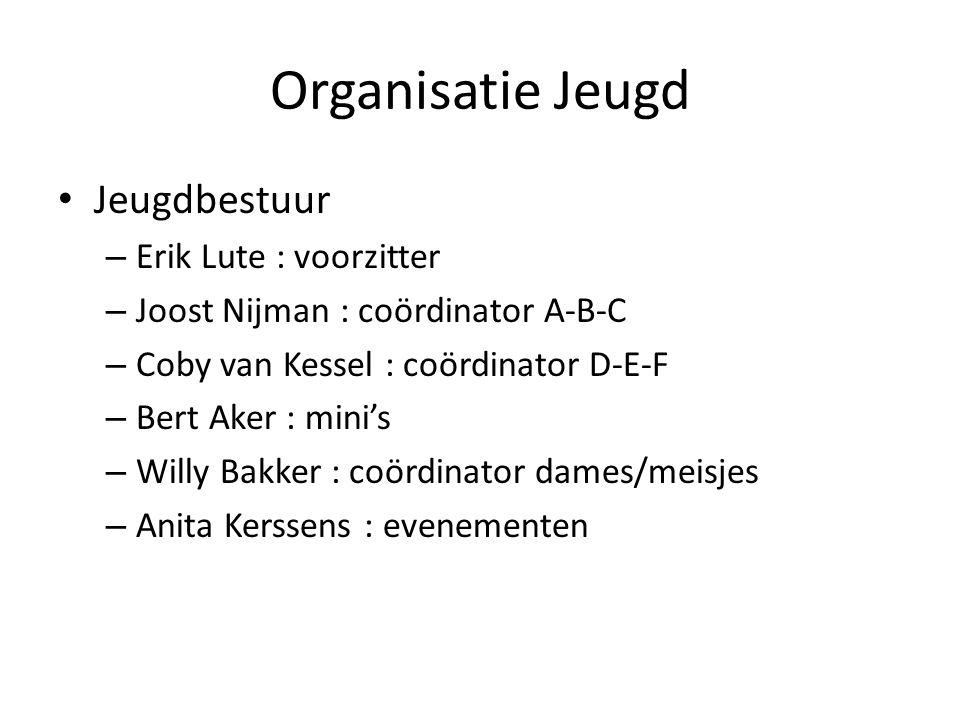 Organisatie Jeugd Jeugdbestuur – Erik Lute : voorzitter – Joost Nijman : coördinator A-B-C – Coby van Kessel : coördinator D-E-F – Bert Aker : mini's