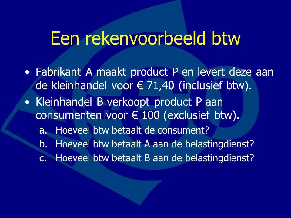 Een rekenvoorbeeld btw Fabrikant A maakt product P en levert deze aan de kleinhandel voor € 71,40 (inclusief btw).