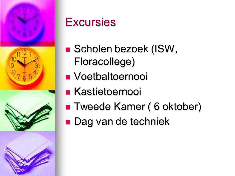 Excursies Scholen bezoek (ISW, Floracollege) Scholen bezoek (ISW, Floracollege) Voetbaltoernooi Voetbaltoernooi Kastietoernooi Kastietoernooi Tweede K