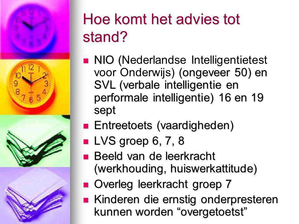 Hoe komt het advies tot stand? NIO ( (ongeveer 50) en SVL (verbale intelligentie en performale intelligentie) 16 en 19 sept NIO (Nederlandse Intellige