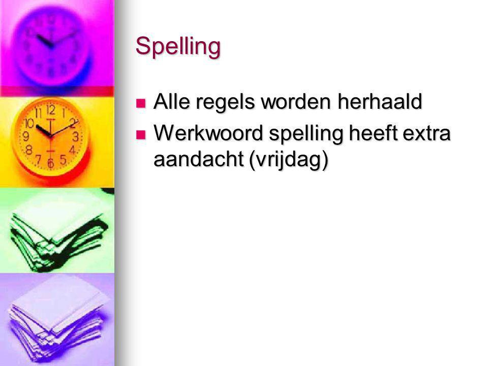 Spelling Alle regels worden herhaald Alle regels worden herhaald Werkwoord spelling heeft extra aandacht (vrijdag) Werkwoord spelling heeft extra aand
