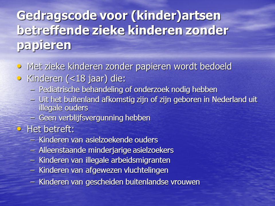 Gedragscode voor (kinder)artsen betreffende zieke kinderen zonder papieren Met zieke kinderen zonder papieren wordt bedoeld Met zieke kinderen zonder