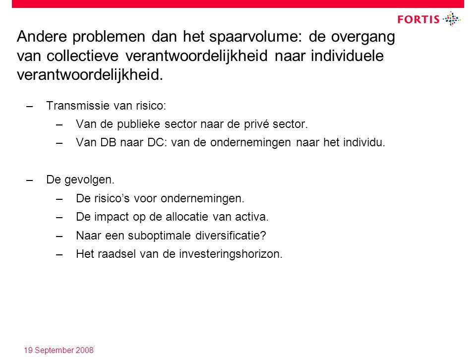 19 September 2008 –Transmissie van risico: –Van de publieke sector naar de privé sector.