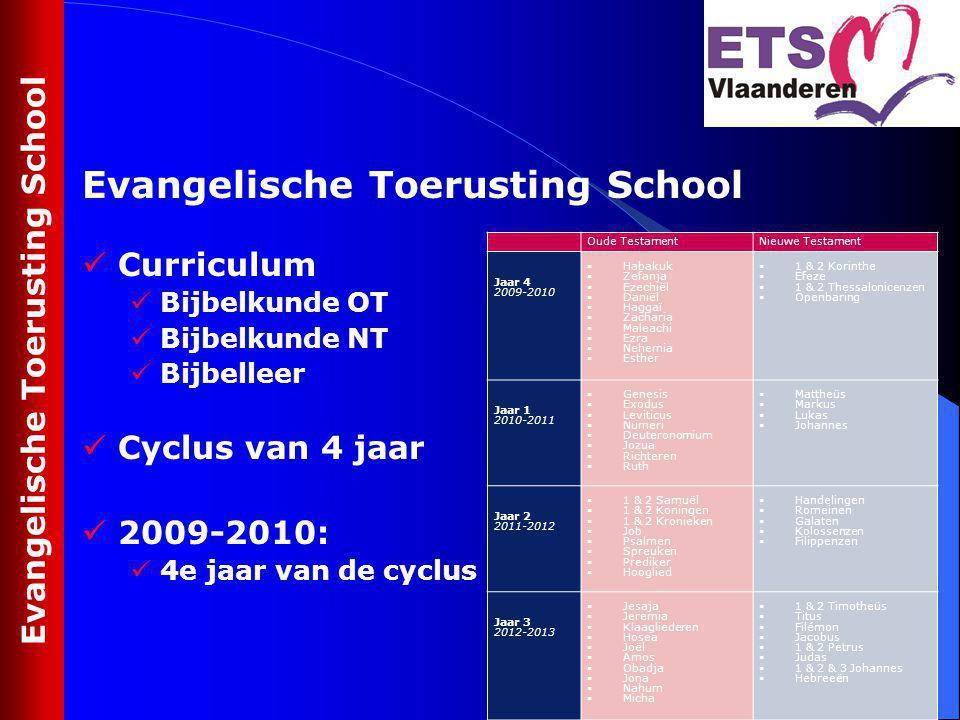 Curriculum Bijbelkunde OT Bijbelkunde NT Bijbelleer Cyclus van 4 jaar 2009-2010: 4e jaar van de cyclus Evangelische Toerusting School Oude TestamentNi
