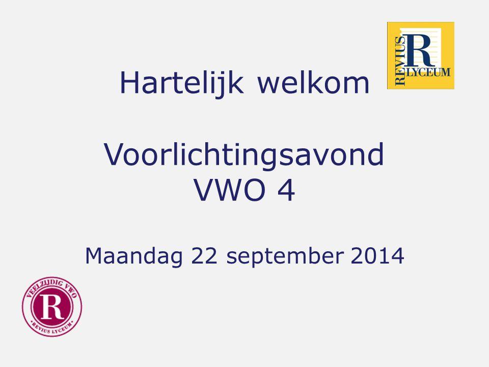 Hartelijk welkom Voorlichtingsavond VWO 4 Maandag 22 september 2014