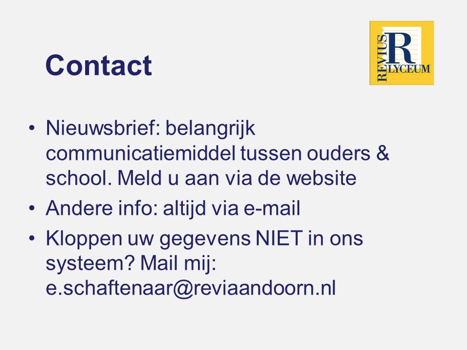 Contact Nieuwsbrief: belangrijk communicatiemiddel tussen ouders & school.