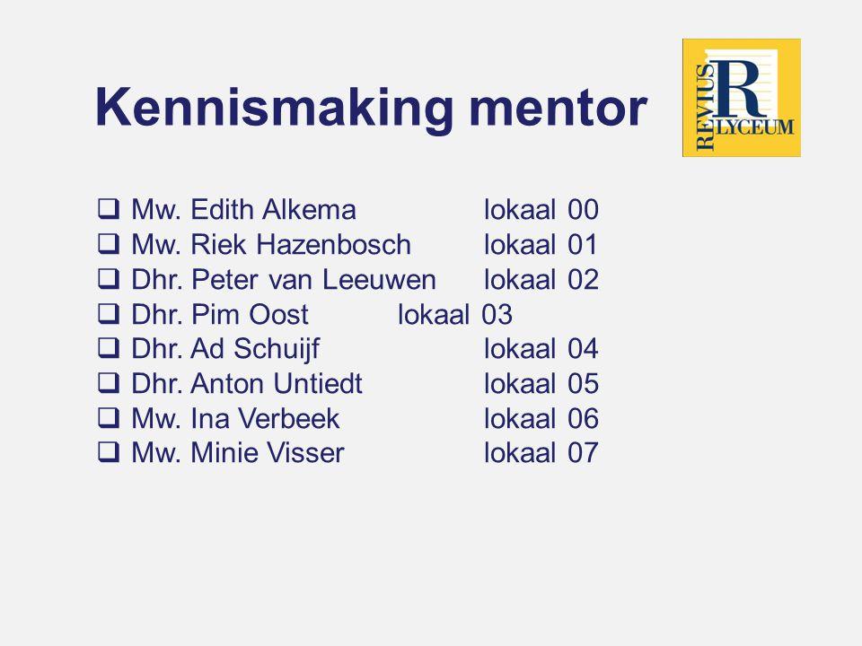 Kennismaking mentor  Mw.Edith Alkemalokaal 00  Mw.
