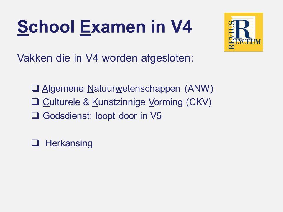 School Examen in V4 Vakken die in V4 worden afgesloten:  Algemene Natuurwetenschappen (ANW)  Culturele & Kunstzinnige Vorming (CKV)  Godsdienst: loopt door in V5  Herkansing