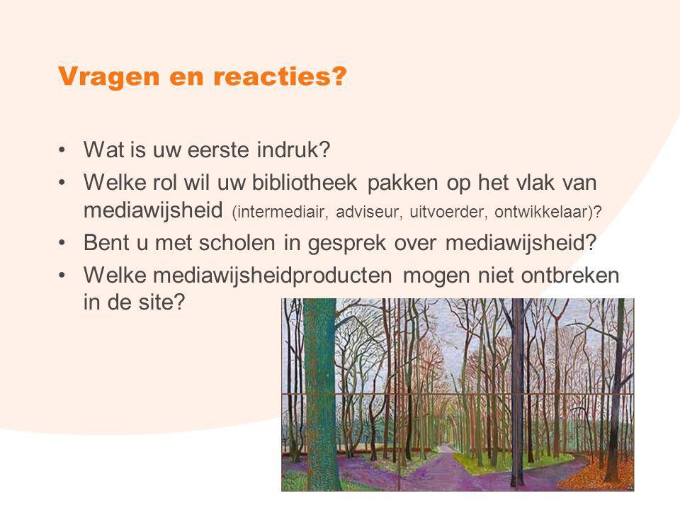 Vragen en reacties? Wat is uw eerste indruk? Welke rol wil uw bibliotheek pakken op het vlak van mediawijsheid (intermediair, adviseur, uitvoerder, on