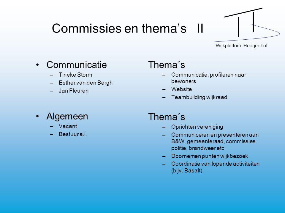 Wijkplatform Hoogenhof Commissies en thema's II Communicatie –Tineke Storm –Esther van den Bergh –Jan Fleuren Algemeen –Vacant –Bestuur a.i. Thema´s –
