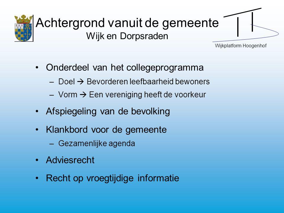Wijkplatform Hoogenhof Achtergrond vanuit de gemeente Wijk en Dorpsraden Onderdeel van het collegeprogramma –Doel  Bevorderen leefbaarheid bewoners –