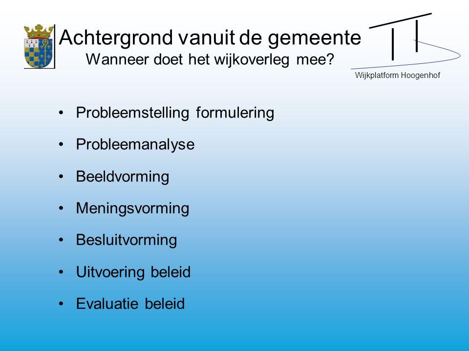 Wijkplatform Hoogenhof Achtergrond vanuit de gemeente Wanneer doet het wijkoverleg mee.