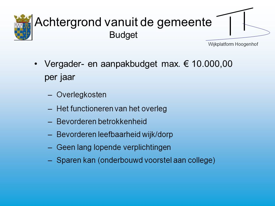 Wijkplatform Hoogenhof Achtergrond vanuit de gemeente Budget Vergader- en aanpakbudget max. € 10.000,00 per jaar –Overlegkosten –Het functioneren van