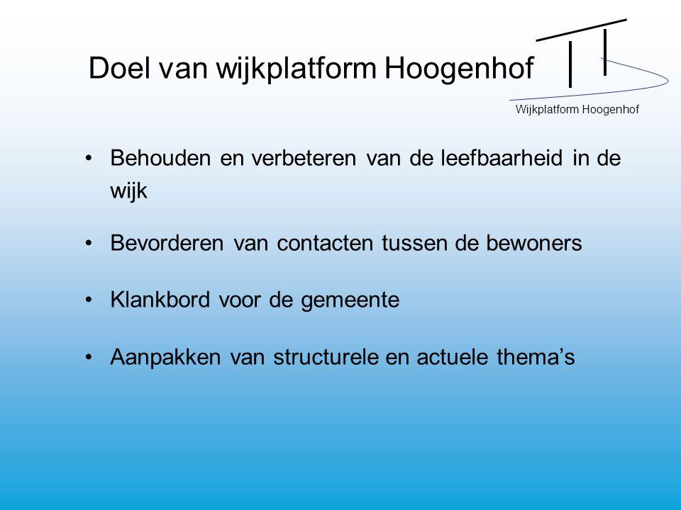 Wijkplatform Hoogenhof Doel van wijkplatform Hoogenhof Behouden en verbeteren van de leefbaarheid in de wijk Bevorderen van contacten tussen de bewoners Klankbord voor de gemeente Aanpakken van structurele en actuele thema's