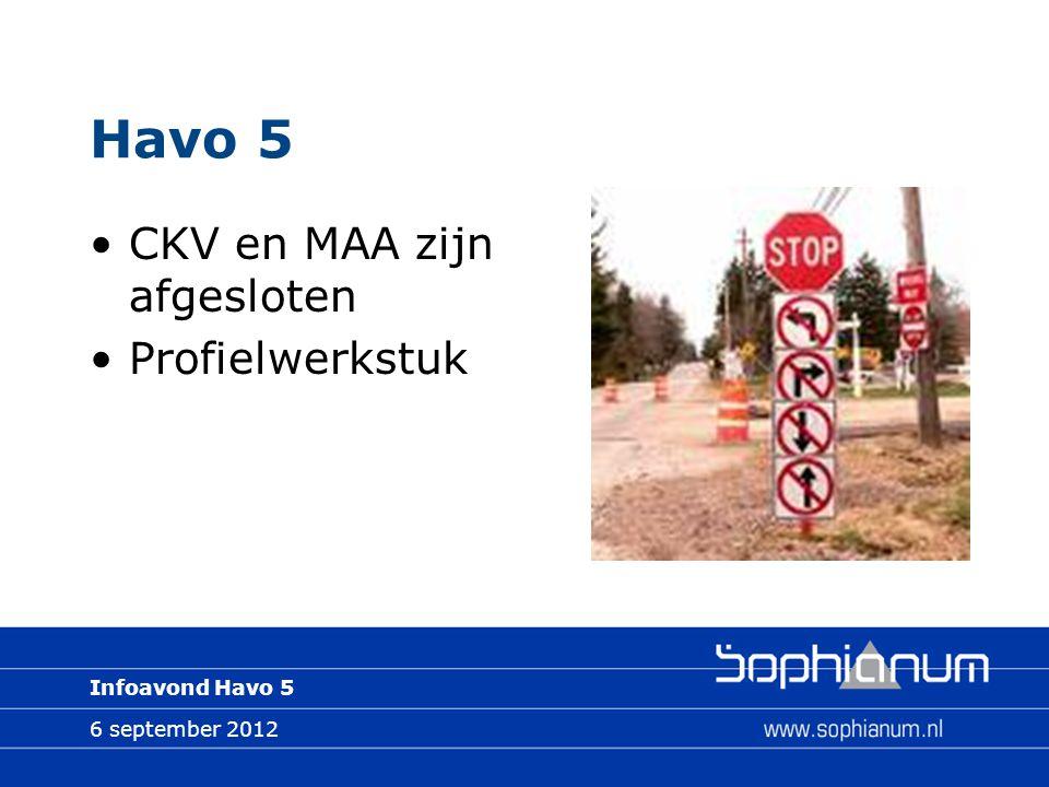 6 september 2012 Infoavond Havo 5 Havo 5 CKV en MAA zijn afgesloten Profielwerkstuk