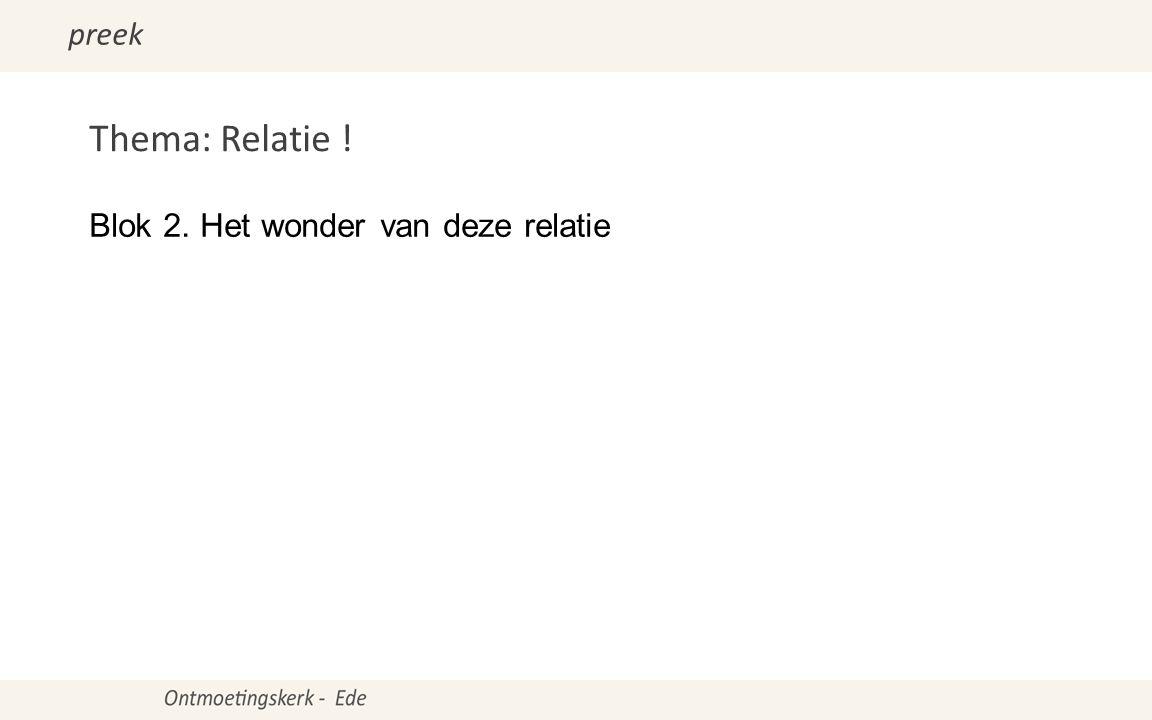 Thema: Relatie ! Blok 2. Het wonder van deze relatie preek