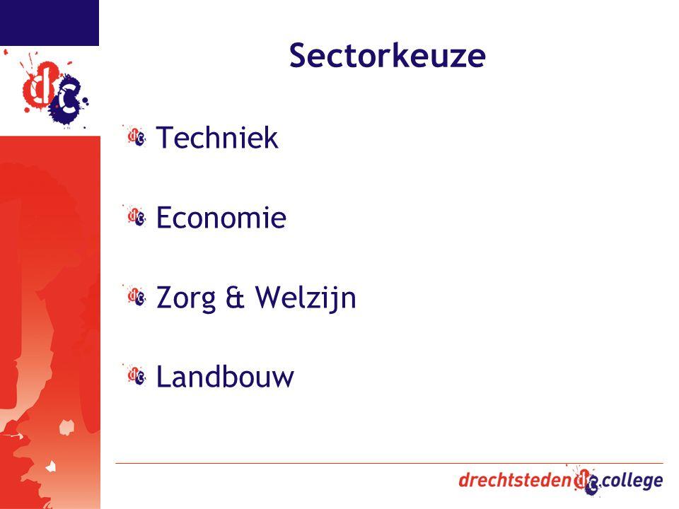 Sectorkeuze Techniek Economie Zorg & Welzijn Landbouw