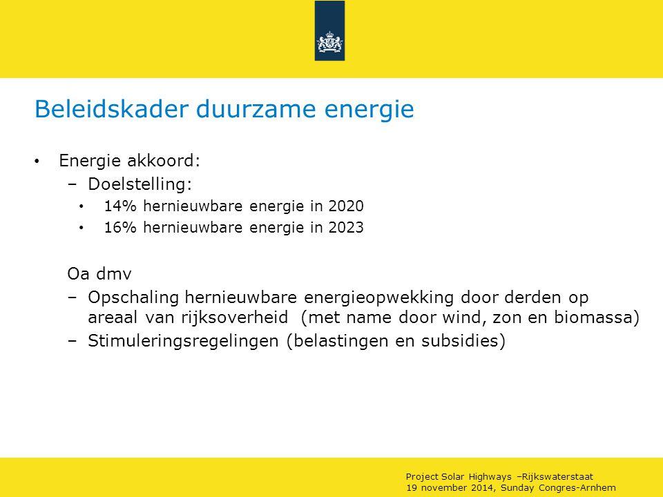 Beleidskader duurzame energie Energie akkoord: –Doelstelling: 14% hernieuwbare energie in 2020 16% hernieuwbare energie in 2023 Oa dmv –Opschaling hernieuwbare energieopwekking door derden op areaal van rijksoverheid (met name door wind, zon en biomassa) –Stimuleringsregelingen (belastingen en subsidies) Project Solar Highways –Rijkswaterstaat 19 november 2014, Sunday Congres-Arnhem