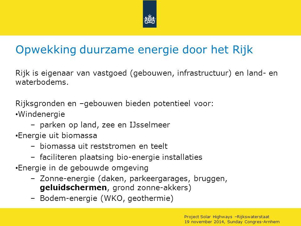 Project Solar Highways –Rijkswaterstaat 19 november 2014, Sunday Congres-Arnhem Bestaand en realiseerbaar potentieel Rijk (x10 6 MWh) Bestaand tot 2013 Potentieel tot 2020 Potentieel >2020 Totaal Windenergie0,752,081,194,03(72,5%) Bio-energie 0,270,150,560,97(17,5%) Energie in gebouwde omgeving ~00,190,370,56(10%) totaal1,022,422,125,56(100%)