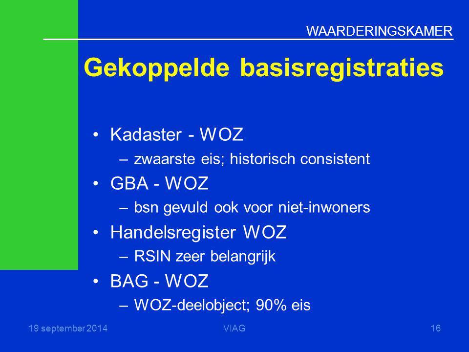WAARDERINGSKAMER Gekoppelde basisregistraties 19 september 2014VIAG16 Kadaster - WOZ –zwaarste eis; historisch consistent GBA - WOZ –bsn gevuld ook vo