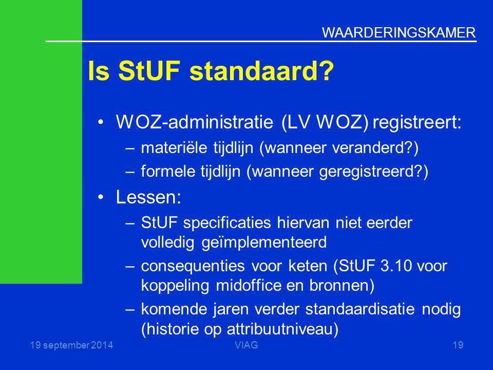 WAARDERINGSKAMER Is StUF standaard? 19 september 2014VIAG19 WOZ-administratie (LV WOZ) registreert: –materiële tijdlijn (wanneer veranderd?) –formele