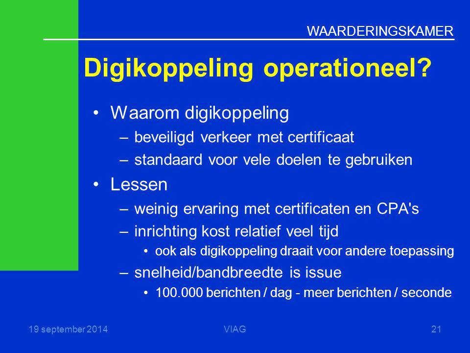 WAARDERINGSKAMER Digikoppeling operationeel? 19 september 2014VIAG21 Waarom digikoppeling –beveiligd verkeer met certificaat –standaard voor vele doel
