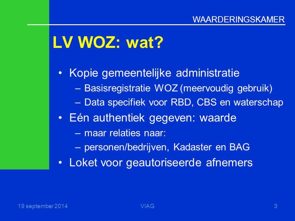 WAARDERINGSKAMER LV WOZ: wat? 19 september 2014VIAG3 Kopie gemeentelijke administratie –Basisregistratie WOZ (meervoudig gebruik) –Data specifiek voor
