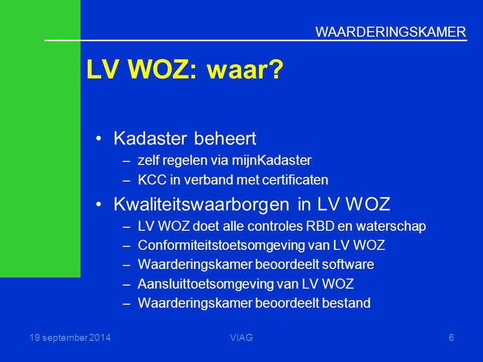 WAARDERINGSKAMER LV WOZ: waar? 19 september 2014VIAG6 Kadaster beheert –zelf regelen via mijnKadaster –KCC in verband met certificaten Kwaliteitswaarb