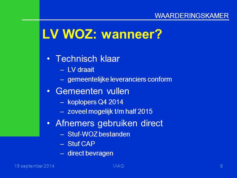 WAARDERINGSKAMER LV WOZ: wanneer? 19 september 2014VIAG8 Technisch klaar –LV draait –gemeentelijke leveranciers conform Gemeenten vullen –koplopers Q4