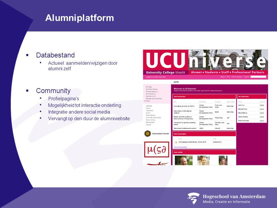 Alumniplatform  Databestand Actueel: aanmelden/wijzigen door alumni zelf  Community Profielpagina's Mogelijkheid tot interactie onderling Integratie