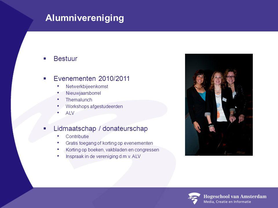 Alumnivereniging  Bestuur  Evenementen 2010/2011 Netwerkbijeenkomst Nieuwjaarsborrel Themalunch Workshops afgestudeerden ALV  Lidmaatschap / donate