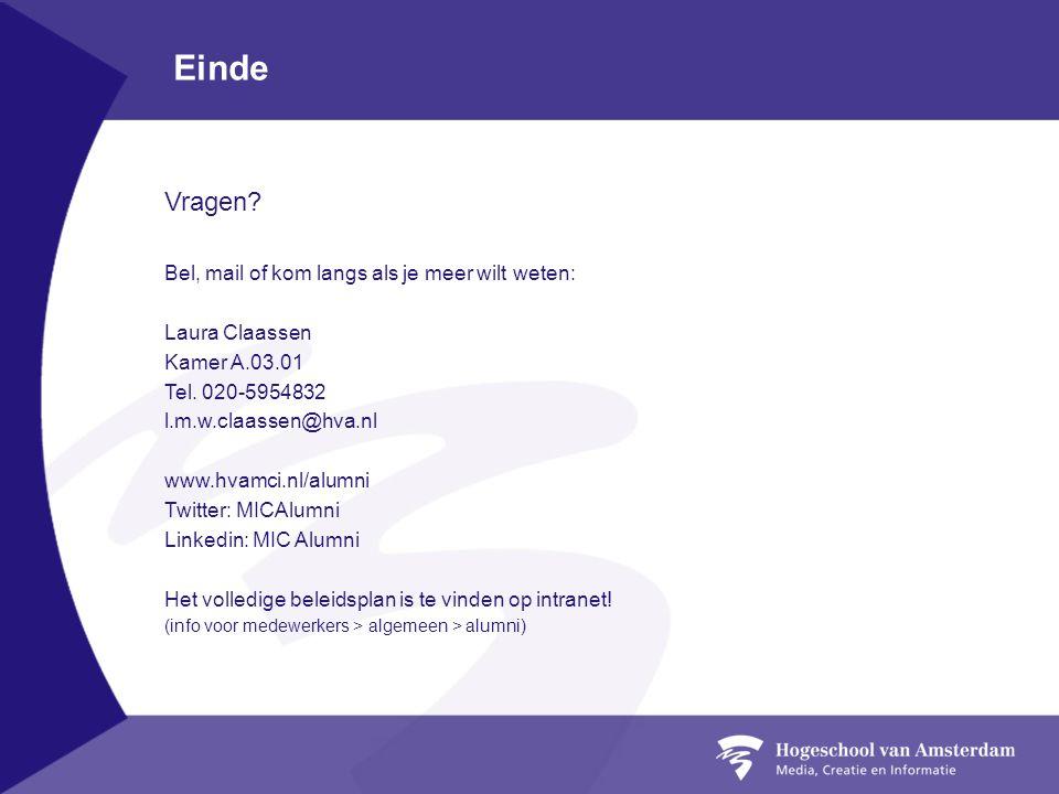 Einde Vragen? Bel, mail of kom langs als je meer wilt weten: Laura Claassen Kamer A.03.01 Tel. 020-5954832 l.m.w.claassen@hva.nl www.hvamci.nl/alumni