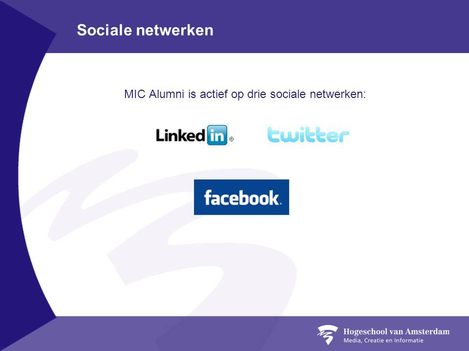 Sociale netwerken MIC Alumni is actief op drie sociale netwerken: