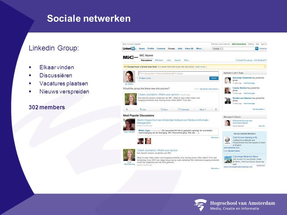 Sociale netwerken Linkedin Group:  Elkaar vinden  Discussiëren  Vacatures plaatsen  Nieuws verspreiden 302 members