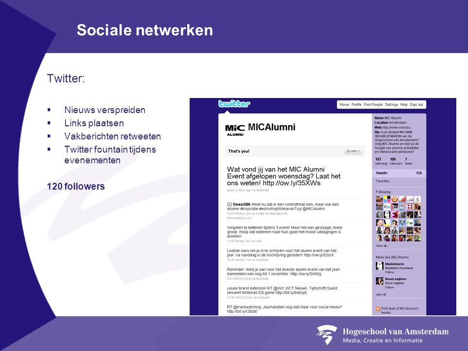 Sociale netwerken Twitter:  Nieuws verspreiden  Links plaatsen  Vakberichten retweeten  Twitter fountain tijdens evenementen 120 followers