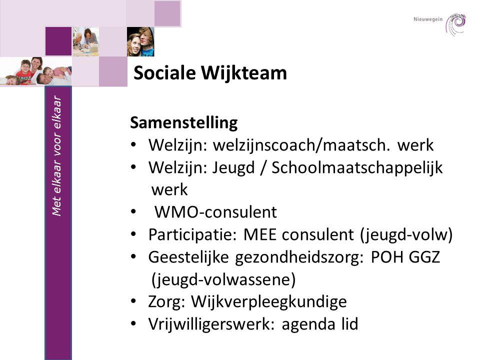 Met elkaar voor elkaar Sociale Wijkteam Samenstelling Welzijn: welzijnscoach/maatsch. werk Welzijn: Jeugd / Schoolmaatschappelijk werk WMO-consulent P